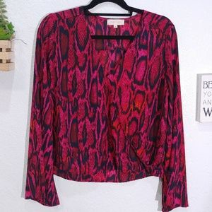 Eighty Sixty faux wrap front animal print blouse M